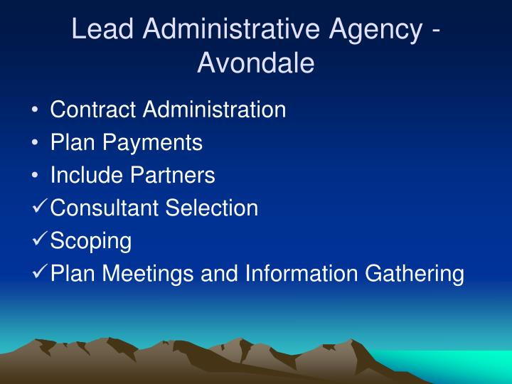 Lead Administrative Agency - Avondale