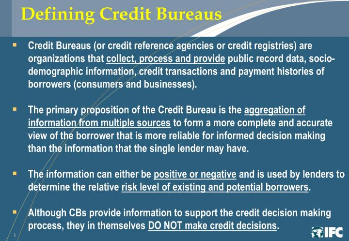 Defining Credit Bureaus