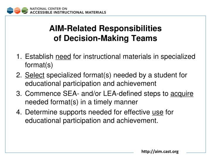 AIM-Related Responsibilities