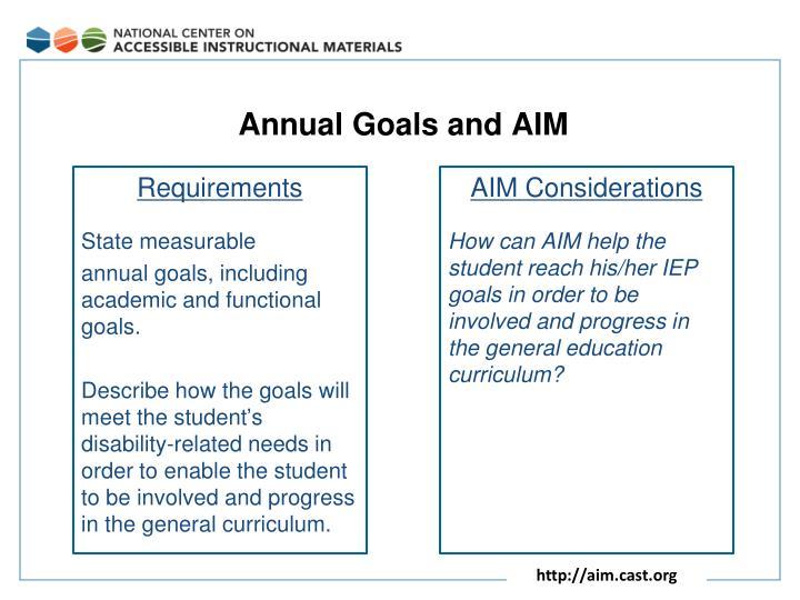 Annual Goals and AIM