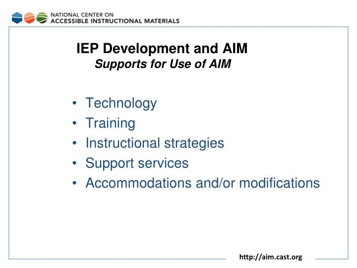 IEP Development and AIM