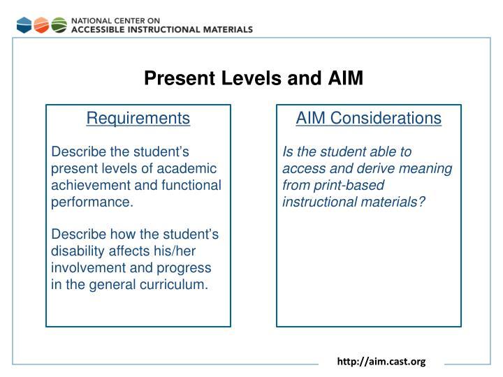 Present Levels and AIM