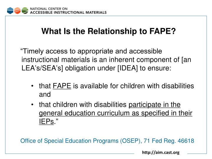 What Is the Relationship to FAPE?