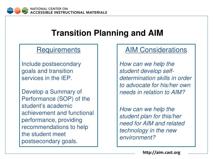 Transition Planning and AIM