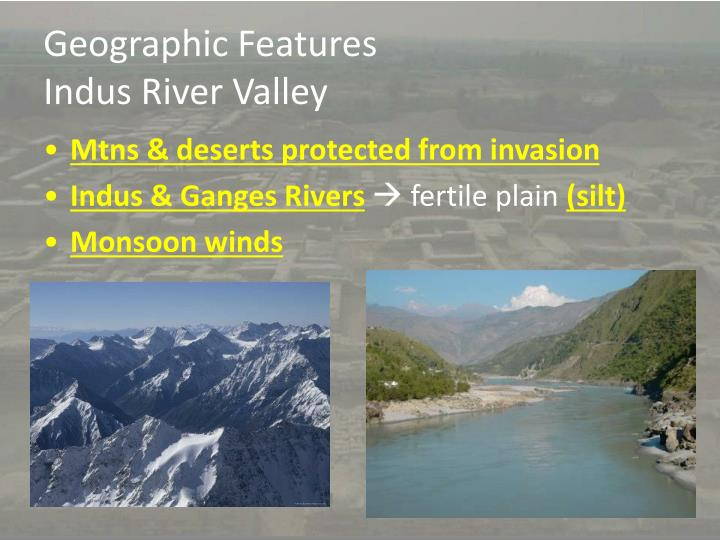 Geographic features indus river valley