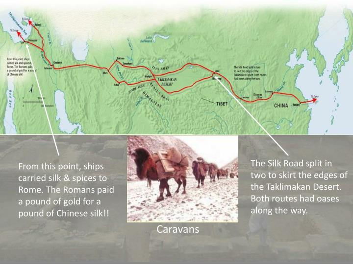 The Silk Road split in two to skirt the edges of the Taklimakan Desert. Both routes had oases along the way.