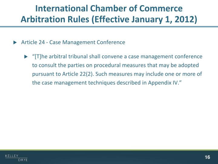 International Chamber of Commerce Arbitration Rules (Effective January 1, 2012)