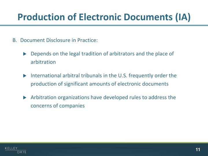 Production of Electronic Documents (IA)