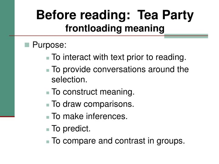 Before reading:  Tea Party