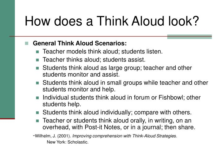 How does a Think Aloud look?