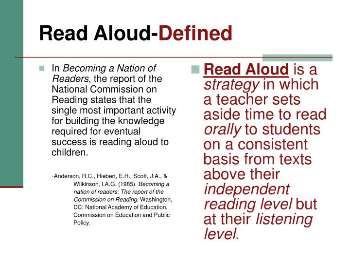 Read aloud defined