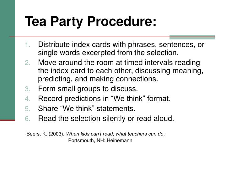 Tea Party Procedure:
