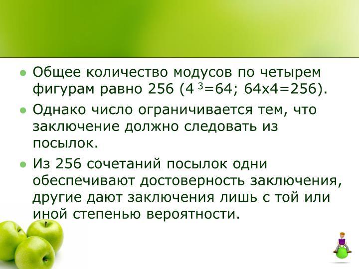 Общее количество модусов по четырем фигурам равно 256 (4