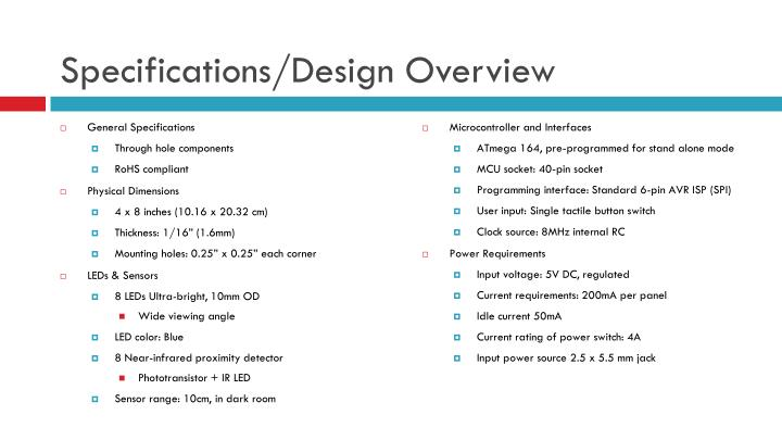 Specifications design overview