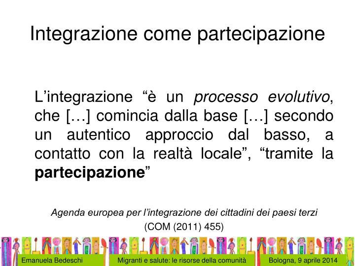 Integrazione come partecipazione