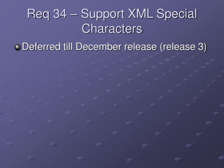 Req 34 – Support XML Special Characters