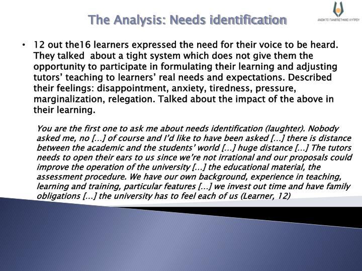 The Analysis: Needs identification