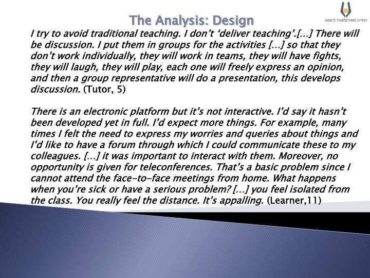 The Analysis: Design