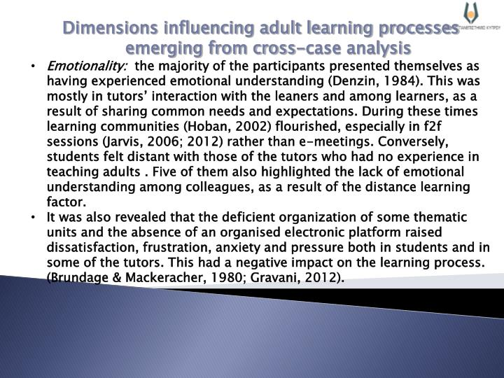 Dimensions influencing adult learning processes emerging from cross-case analysis