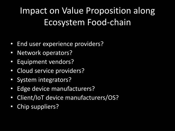 Impact on Value Proposition along Ecosystem Food-chain