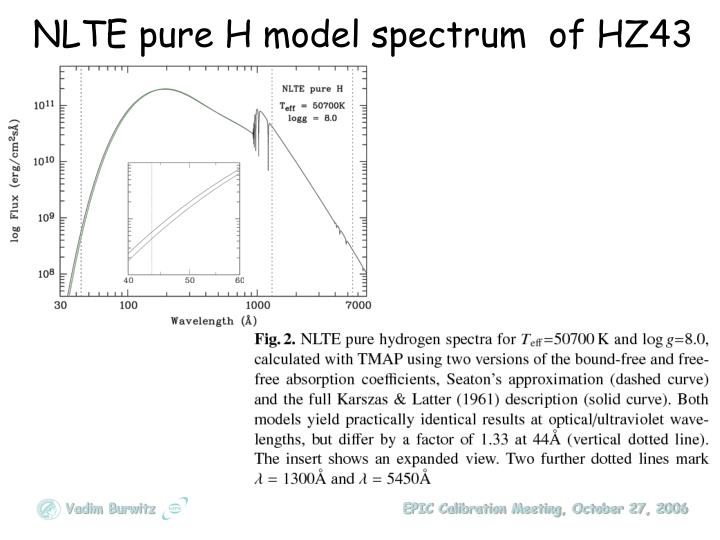 NLTE pure H model spectrum  of HZ43