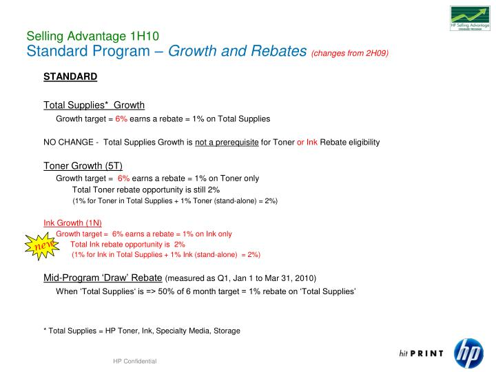 Selling advantage 1h10 standard program growth and rebates changes from 2h09