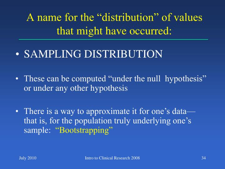"A name for the ""distribution"" of values that might have occurred:"