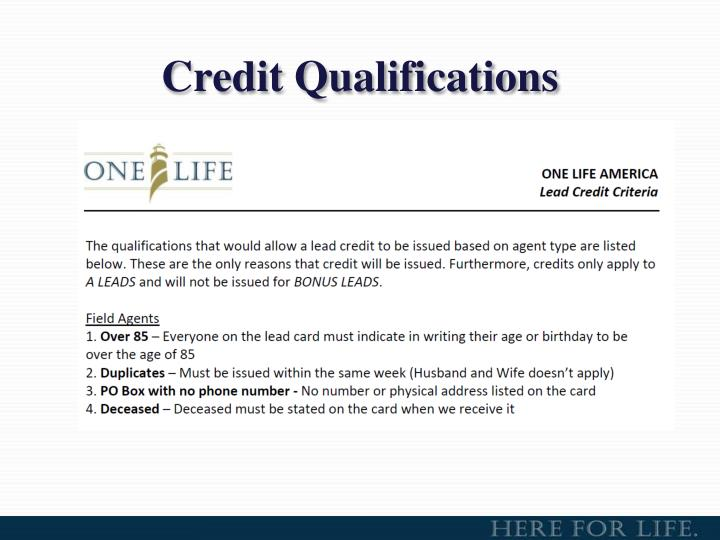 Credit Qualifications