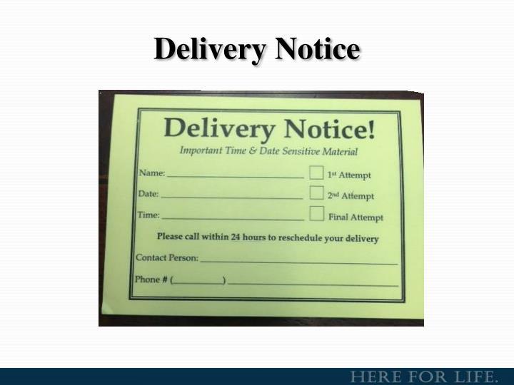 Delivery Notice