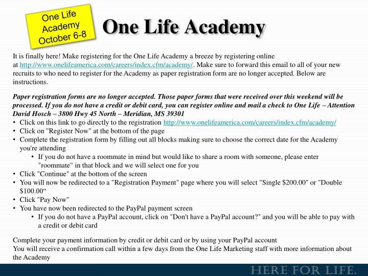 One Life Academy
