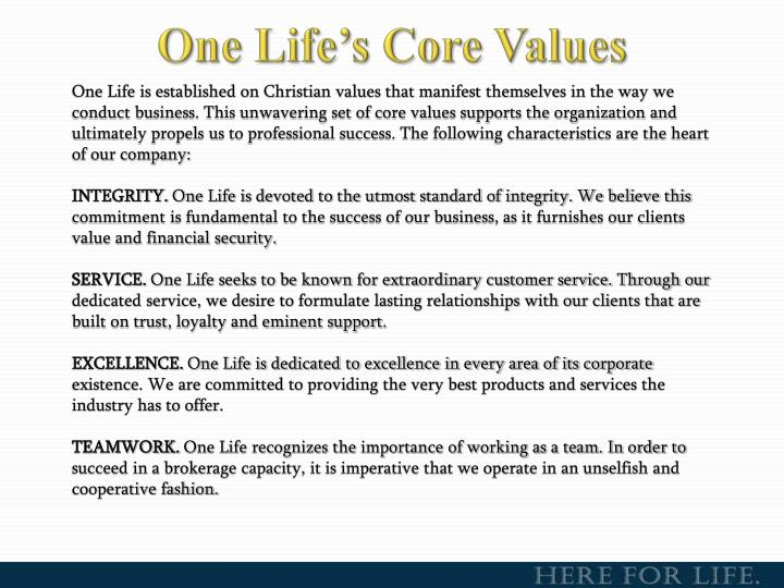 One Life's Core Values