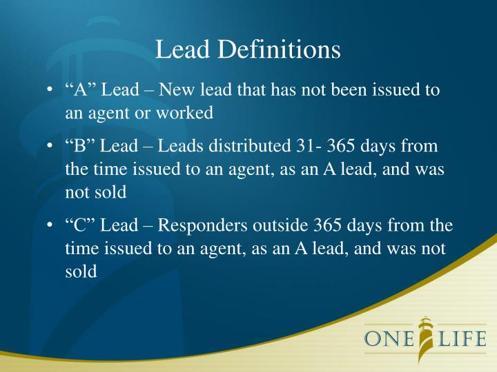 Lead Definitions