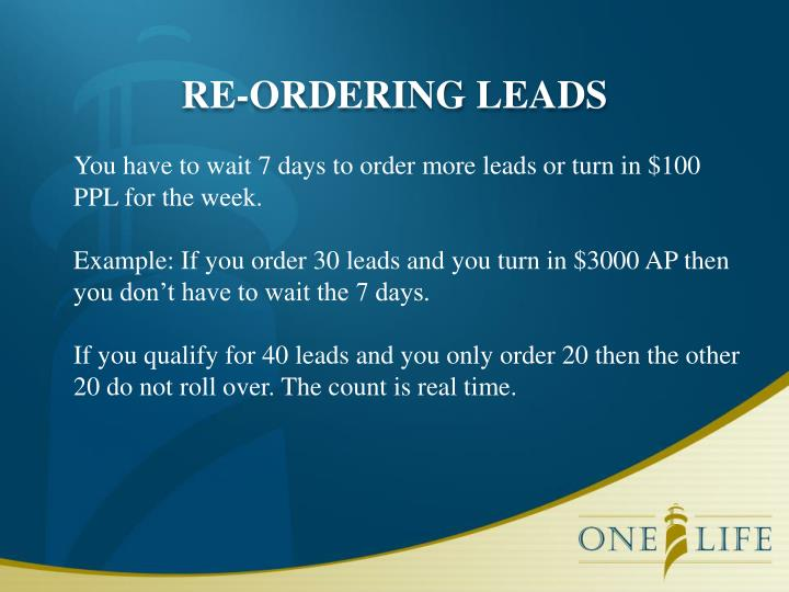 RE-ORDERING LEADS