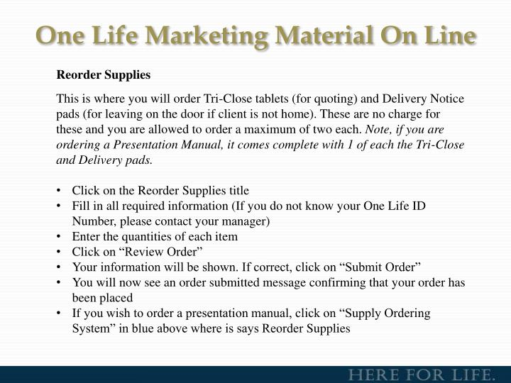 One Life Marketing Material On Line