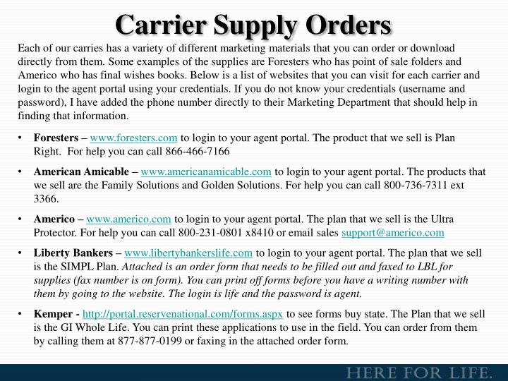 Carrier Supply