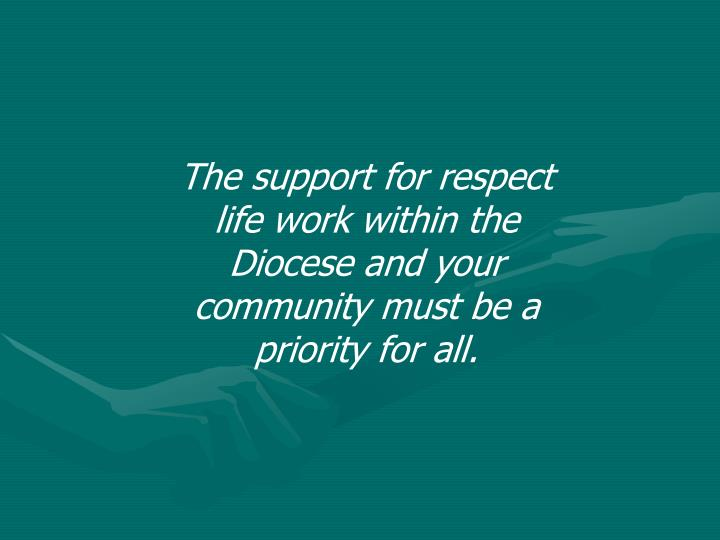 The support for respect life work within the Diocese and your community must be a priority for all.