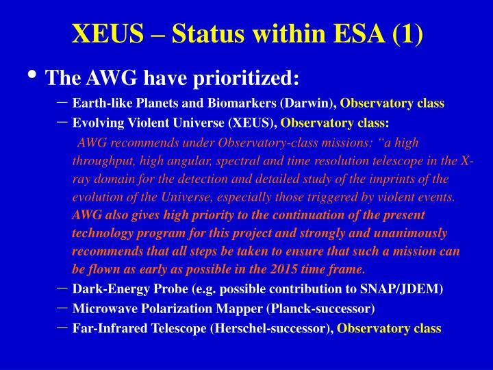 XEUS – Status within ESA (1)