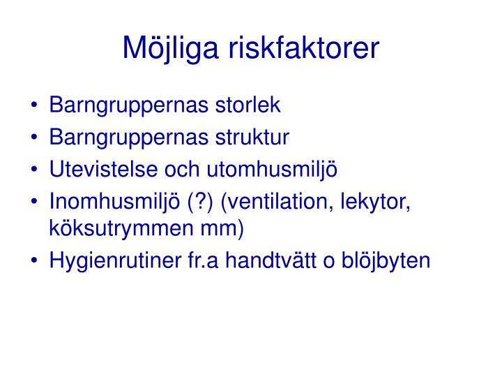 Möjliga riskfaktorer