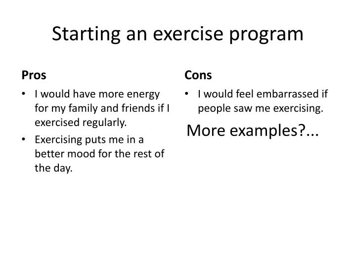 Starting an exercise program