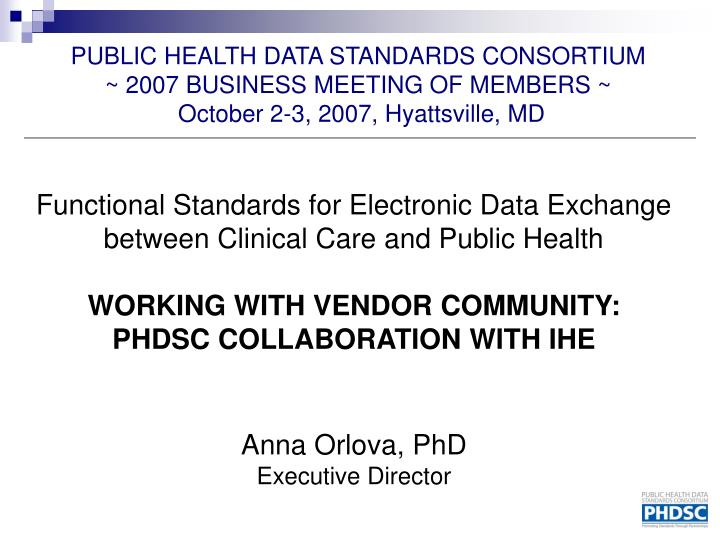 Functional Standards for Electronic Data Exchange between Clinical Care and Public Health