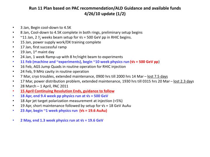 Run 11 Plan based on PAC recommendation/ALD Guidance and available funds