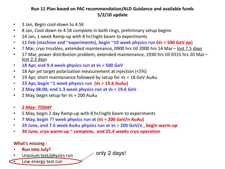 Run 11 plan based on pac recommendation ald guidance and available funds 5 2 10 update