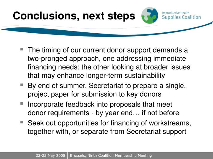 Conclusions, next steps