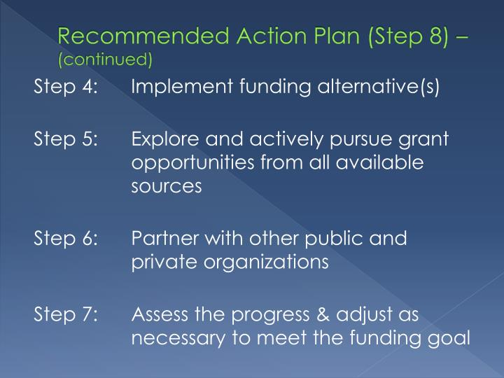 Recommended Action Plan (Step 8) –