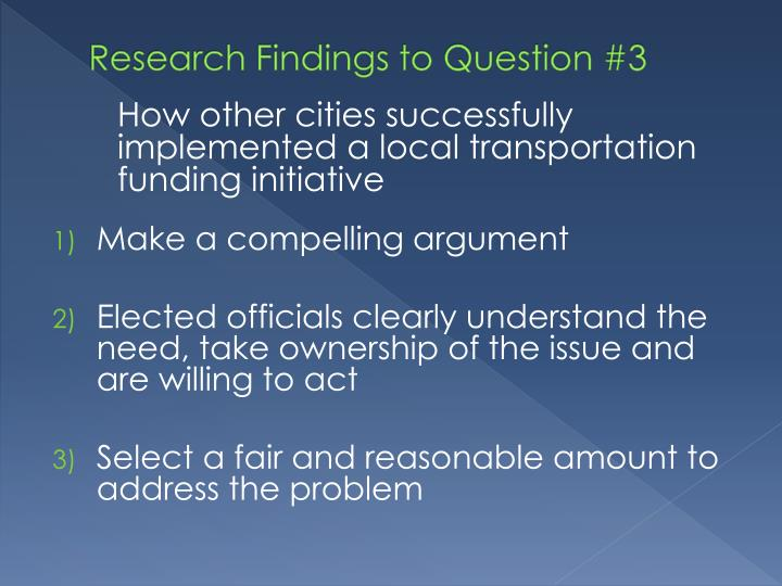 Research Findings to Question #3