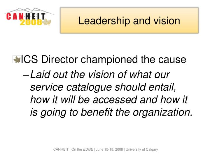 Leadership and vision