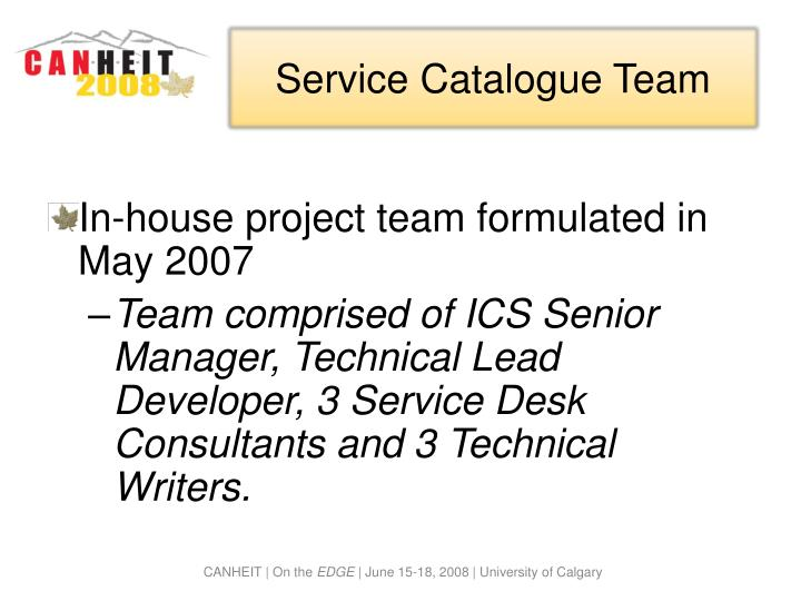 Service Catalogue Team