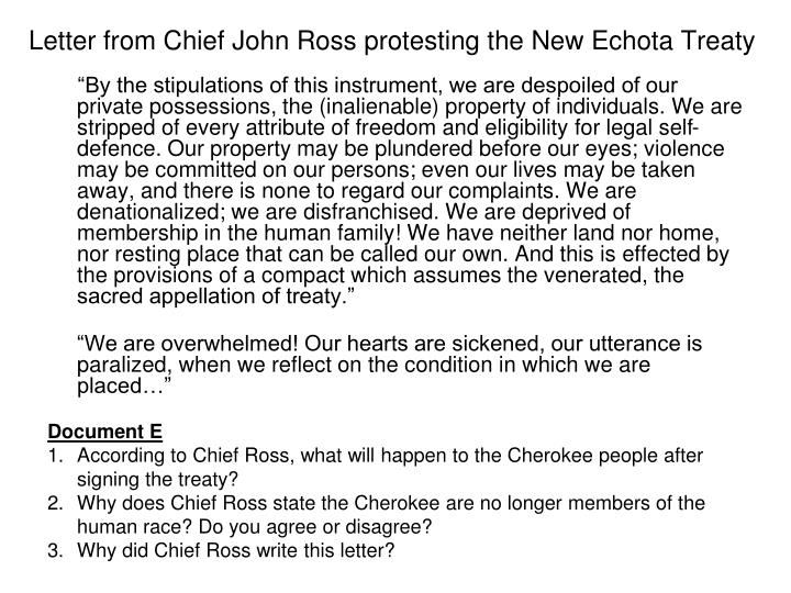 Letter from Chief John Ross protesting the New Echota Treaty