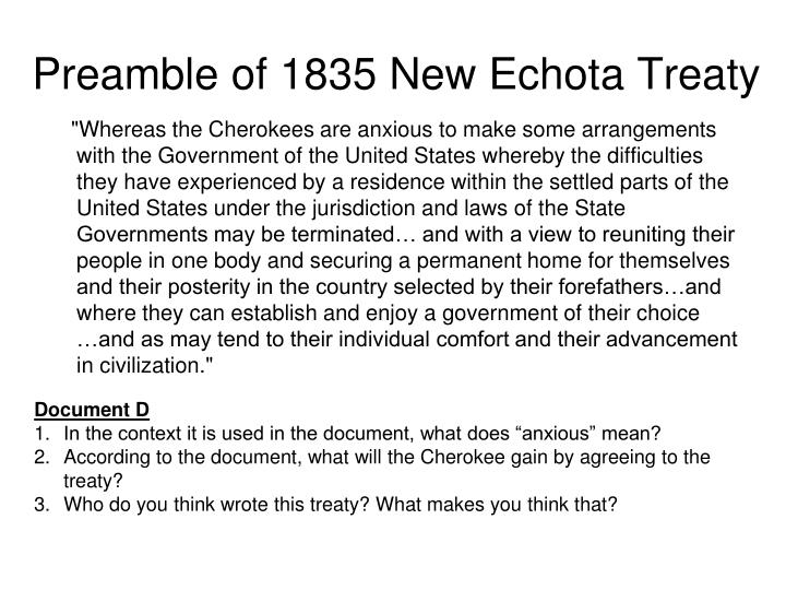 Preamble of 1835 New Echota Treaty
