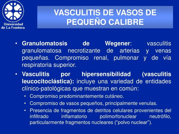 VASCULITIS DE VASOS DE PEQUEÑO CALIBRE